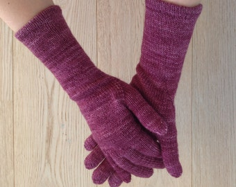 Gloves With Fingers / Hand-knitted gloves / Gloves & Mittens / Hand-knitted mittens / Silk Wool Blend / Merino Wool / Silk