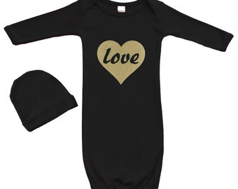 Long Sleeve Baby Gown with Cap Set