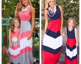 Summer, 4th of July, Mother daughter matching dress, Mommy & Me Dress Green Chevron, pink gray, red, white, blue  Maxi Dress Monogram