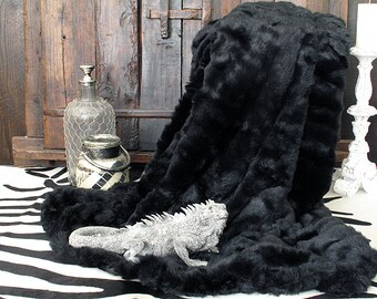 Faux Fur Throw Black Panther with grey faux-suede lining in a range of sizes. Ideal Bedspread or Fur Sofa Throw.