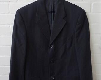Vintage 1980s Men's Pierre Cardin Navy  Pinstripe Suit , Jacket UK 36 Trousers Waist UK 30 Leg 28