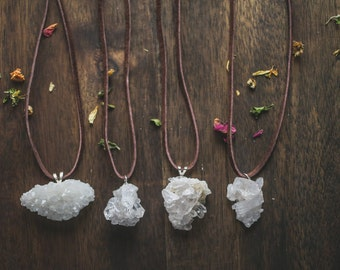White cluster necklace | Crystal cluster necklace on leather | quartz necklace | Handmade necklace