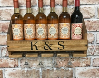Personalised Wine Rack, wine gift, mother's day gift, reclaimed wood, pallet wood, birthday gift, housewarming