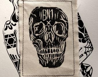 BN1 Lino Print Skull Patch