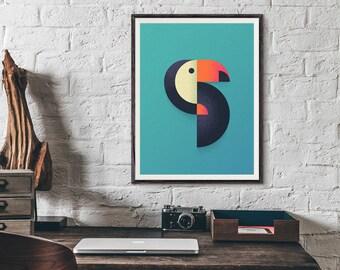 Toucan Geometric Minimal Illustration Poster Art Print