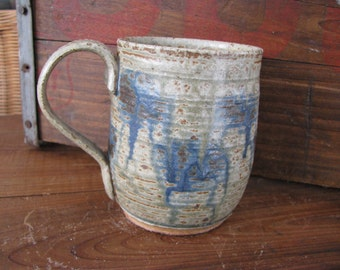 Green Runny Ash Mug- Handmade Pottery Mug, 10-12 oz Great for coffee or tea -WORKBYDAN