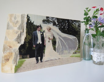 Handmade, Natural Edged Personalised Wooden Photo Block, Your Photo on Wood, Special Family Photo, 5th Wedding Anniversary Gift