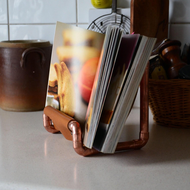 copper cookbook stand book holder industrial kitchen decor
