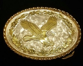 Vintage Mini Eagle and Floral Belt Buckle *