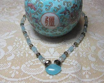 Kyanite, Chalcedony & Smokey Quartz Beaded Necklace