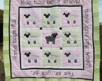 Handmade Baa Baa Black Sheep Nursery Rhyme Baby Quilt in Pink