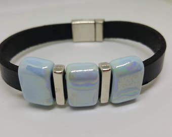 """""""Blue Pearl"""" leather strap"""