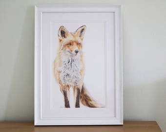 Original Fox Artwork, hand drawing, fox illustration, wildlife lover print, fox art, fox drawing, woodland print, nursery decor