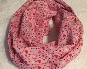 Sparkly Hearts and Cupid's Arrows Valentines Infinity Scarf