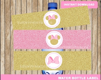 Pink and Gold Minnie Mouse water bottle labels; printable Minnie Pink and Gold  water, Minnie Mouse water bottle instant download
