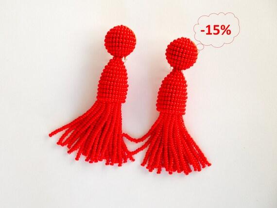 """Red beaded short tassel clip on earrings, Oscar De La Renta style, handmade, 3"""""""