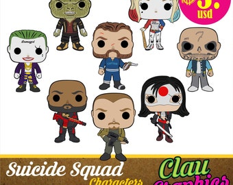 Suicide Squad Cartoons, SVG patterns and PNG images, eight models with awesome details for using on papercraft projects and more
