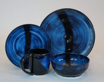 Wheel thrown, handmade, stoneware, stripe, plate set