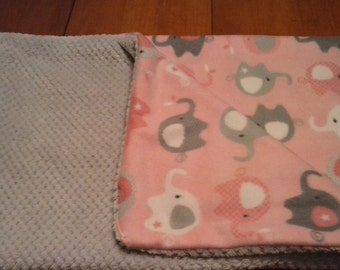 Super soft n' comfy pink elephant and gray baby/toddler blanket