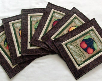 Fruit Mug Rug Table Linen Table Decoration Fruit Decor Harvest Mug Rug Quilted Mug Rug Quilted Mug Mat Oversize coasters Small Placemat