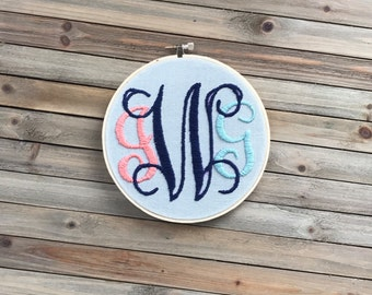 Embroidery Hoop with Hand-Stitched Monogram