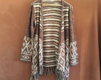 Fringed Sweater Poncho Native American print