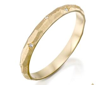 Diamond ring, Wedding diamond ring, Diamond band, 14K wedding band, Gold ring 14K, Handmade gold ring, Wedding ring, 14K wedding ring, 14K