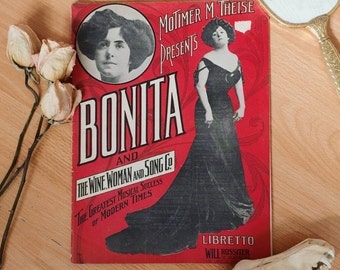 Antique Bonita and the Wine Woman and Song Co libretto, song book