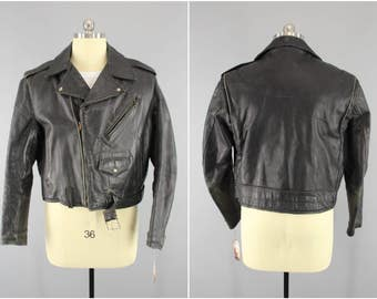 Original 1950s Vintage Horsehide Motorcycle Jacket / 50s Black Leather Moto Biker Jacket / Rockabilly Menswear / Wild Bunch / Steer Hide