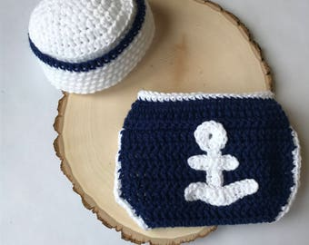 Newborn sailor outfit-newborn nautical outfit-baby photo prop-crochet baby outfit-ready to ship