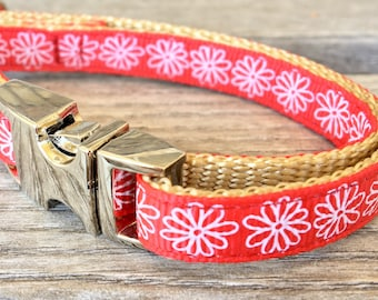 """Red Floral Teacup Dog Collar, White Flowers 3/8"""" Dog Collar, Red Teacup Dog Collar"""