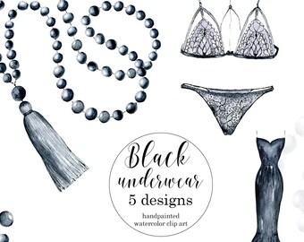 Fashion Watercolor clipart, Underwear clipart, Fashion Clip Art Dress, Watercolor clipart Fashion, Black Underwear clipart, commercial use