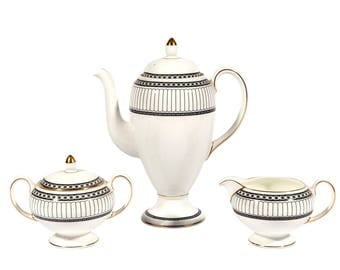 FREE SHIPPING: Vintage Wedgwood Colonnade Tea Set - Coffee Service - Mint Condition - Classic Mid Century Tea Pot, Sugar Bowl, Creamer