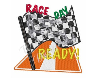 Race Day Checkered Flag- Machine Embroidery Design