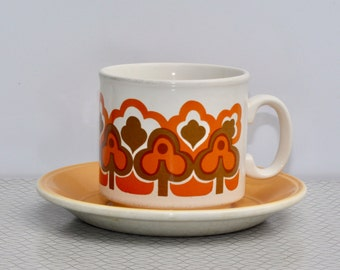 Staffordshire teacups in classic 1970s pattern