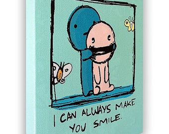 "I Can Always Make You Smile - On a Stretched Wooden Canvas Frame - 8"" x 7"" x 05"" (Light Green)"