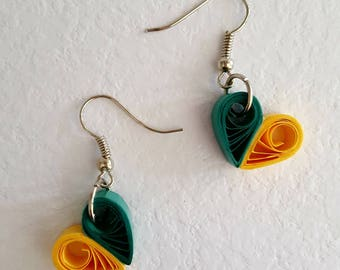 Paper quilling heart shaped earrings, available in any color
