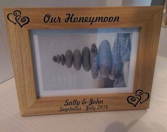 """Personalised 5x7"""" photo frame - our honeymoon - memories - keepsake"""