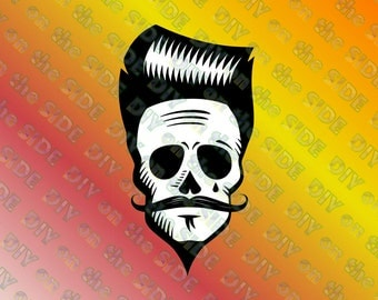 SVG Cut File Hipster Skull with Hair and Mustache Instant Download