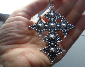 TAXCO MEXICO CROSS Vintage Huge Large Ornate Stamped Signed 925 Sterling Silver Pendant for Necklace Excellent Gorgeous Unique Estate Find