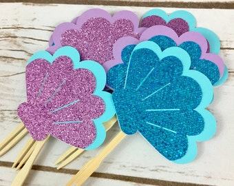 Under the Sea Toppers, Mermaid Cupcake Toppers, Seashell, Birthday Decor, Baby Shower