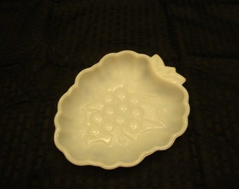 Milk Glass-Grapes Candy Dish