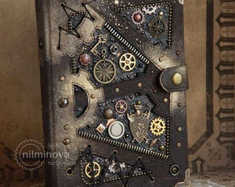 """Based on steampunk Notebook A5 """"In the knight library"""" READY TO SHIP blank journal, blank book, steampunk diary, writer gift"""