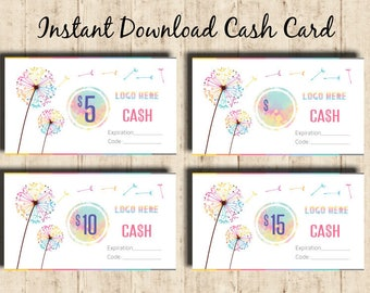 LLRoe Cash Card, Business card size 3.5 x 2 Instant Download Home Office Approved Colors and Font  - DIGITAL