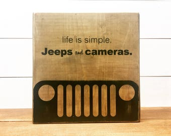 Wood Sign - Jeeps and cameras