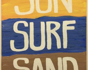 Sun Surf Sand | Acrylic Art | Canvas Painting