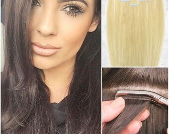 Straight Tape In Extensions 100% Remy Human Hair Extensions