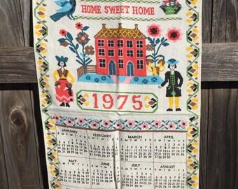 Vintage linen calendar tea towel, 1975