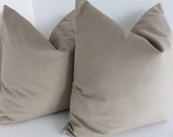 Beige Cotton Velvet Pillow Covers - Pillow Covers - Beige Pillows - Cotton Velvet- Velvet- Pillow Covers - Accent Velvet Pillows