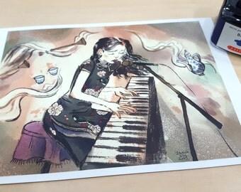 Qipao & Piano Postcard